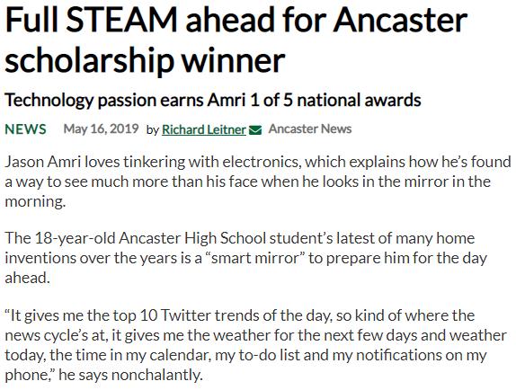 """""""Full STEAM ahead for Ancaster scholarship winner"""" – News Article"""